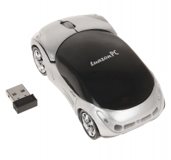 Мышь оптическая беспроводная Машинка, серая, USB