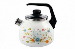 Чайник эмал 3,0л со свистком Floral kitchen ТМ Appetite