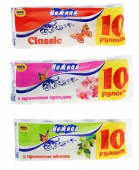 "Бумага туалетная ""Нежная"" 10 рулонная в ассортименте"