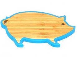 Доска-подставка под горячее Свинка 23*15*1,2см бамбук
