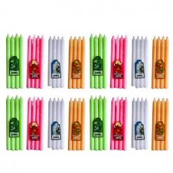 Свечи классические, ароматические, цветные, набор 12*4шт