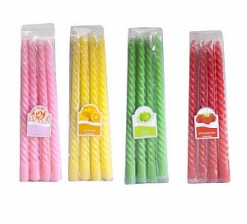 Свечи витые, ароматические, цветные, набор 4шт