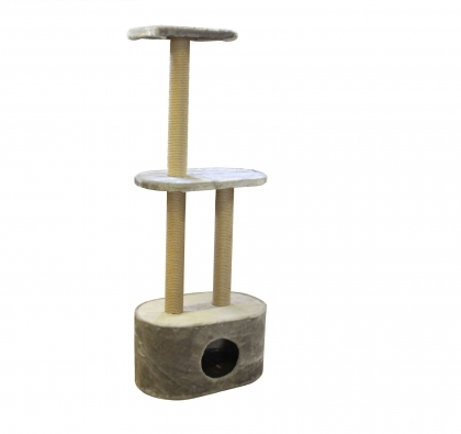 Домик-когтеточка Овальный кабинет с тремя когтеточками, 32 х 52 х 135 см, микс цветов