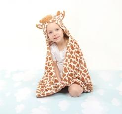 Детский плед с капюшоном Этелька Жираф 76*102 см, 100% п/э, микрофибра
