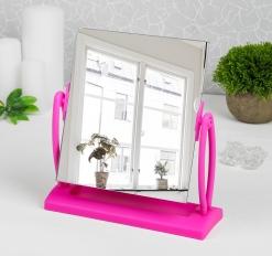 Зеркало на подставке, зеркальная поверхность 17,5 * 20 см, цвет розовый