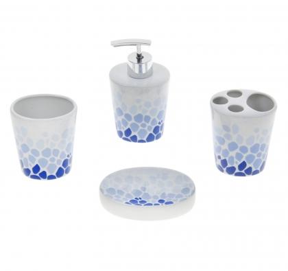 Набор аксессуаров для ванной комнаты, 4 предмета Голубая мозаика